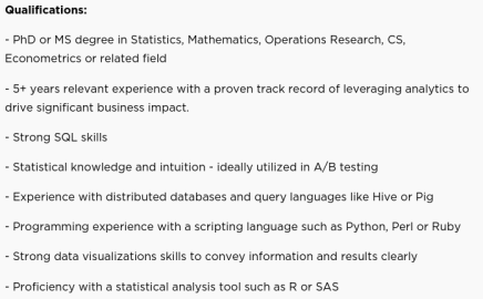 Netflix requirements for data scientist role