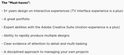 Netflix requirements for UX designer